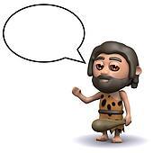 3d Caveman with speech balloon