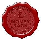 Illustration of Money Back wax seal on white background