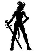 Woman warrior with a sword silhouette