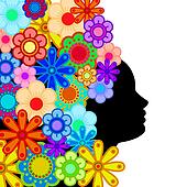 Woman Face Silhouette with Hair of Colorful Flowers