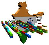India map with stacks of export containers