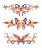Set tribal with butterflies, tattoo