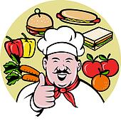 Cartoon Chef cook baker thumbs up