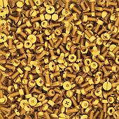 Background of multiple gold bolts and nuts