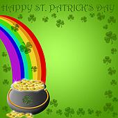 Happy St Patricks Day Pot of Gold End of Rainbow