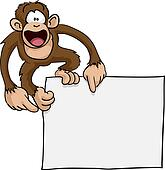 Crazy cute monkey sign illustration
