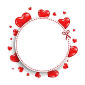 Announcement Coupon With Red Hearts
