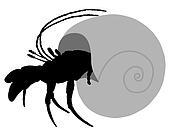 Hermit crab silhouette