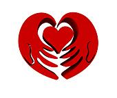 Hands with red heart 3 D icon