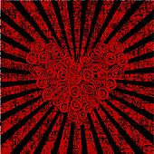 Roses heart over grunge retro background