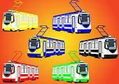 Colorful trams