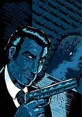 Noir spy scene in a comic book styl