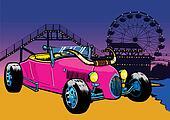 Hot Rod style car on the beach