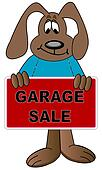 dog cartoon holding up sign for a garage sale - vector