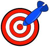 bullseye with blue dart hitting target