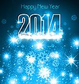 New 2014 year blue colorful greeting card with space for text vector background