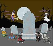 Halloween cemetery background