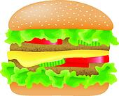 hamburger with meat, lettuce, cucumber,cheese and tomato