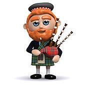 3d Scotsman plays bagpipes