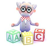 3d Mad scientist teaches the alphabet