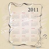 Template for vintage calendar 2011