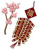 Chinese New Year Firecrackers with Spring Flowers