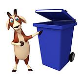 Goat cartoon character with dustbin