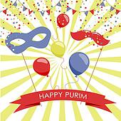 Purim holiday card or banner design.