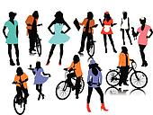 Twelve woman silhouettes. Vector i