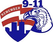 9-11 American bald eagle flag