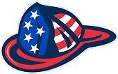 fireman firefighter helmet American flag
