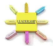 Leadership Concept on Arranged Sticky Notes