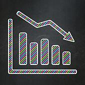 News concept: Decline Graph on chalkboard background