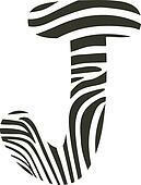 Font zebra, letter J
