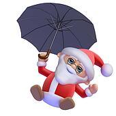 3d Santa Claus flies in