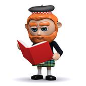 3d Scotsman reading a book