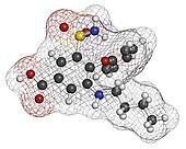 Bumetanide heart failure drug molecule. Loop diuretic, also used