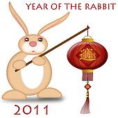 Happy Chinese New Year 2011 Rabbit Holding Lantern