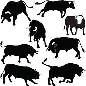 Bulls vector silhouettes