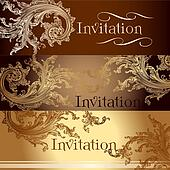 Collection of vector invitation cards in vintage style