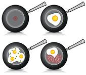 Set of Fried eggs on frying pan. Vector.