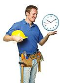 smiling worker and time