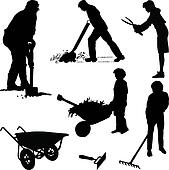 Gardeners and tools
