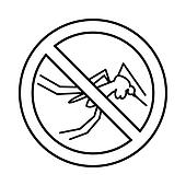 No mosquito sign icon, outline style