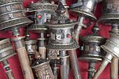 Silver Tibetan prayer wheels