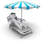 #D man on holidays under sun umbrella