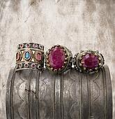 three ottoman rings on grunge background.