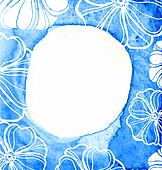 Abstract blue frame on textured watercolor paper watercolor painted frame with flowers