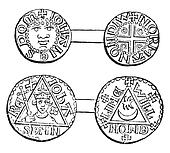 Coins minted during the reign of King John, vintage engraving.
