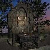 archaic altar or sanctum in a fantasy setting. 3D rendering of a fantasy theme. ideal for background usage.